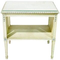 Swedish Glass Top End Table