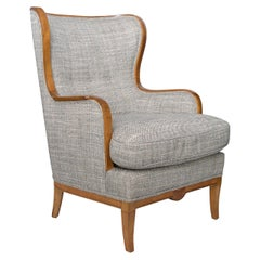 Swedish Grace, Art Deco Large Wingback Chair with Carved Stolid Birch Frame
