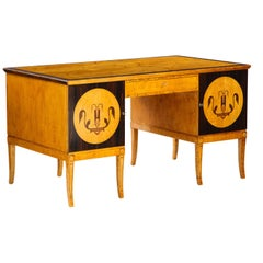 Swedish Grace Birchwood and Rosewood Pedestal Desk, circa 1930-1940