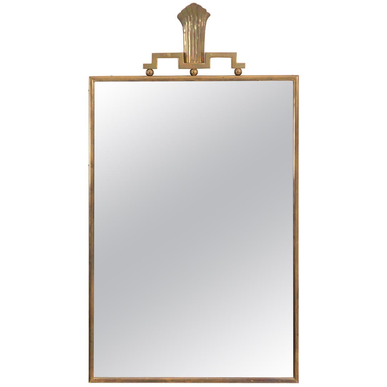 Swedish Grace Brass Mirror by Lars Holmström, 1930s