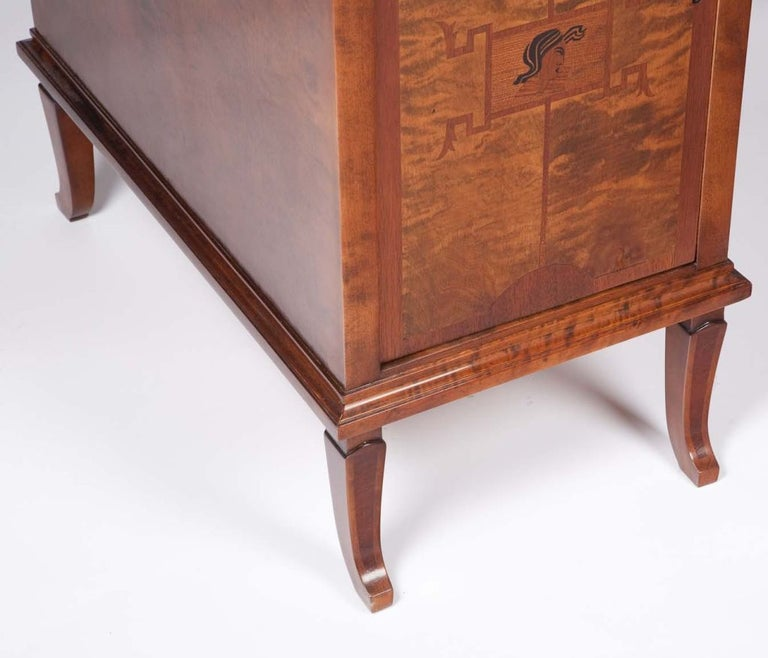 Cherry Art Deco Exotic Wood Inlay Desk by Andrew Szoeke For Sale
