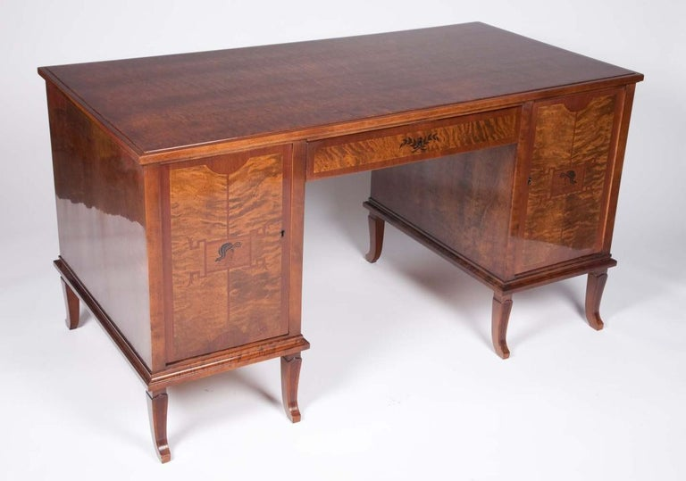 Art Deco Exotic Wood Inlay Desk by Andrew Szoeke For Sale 1