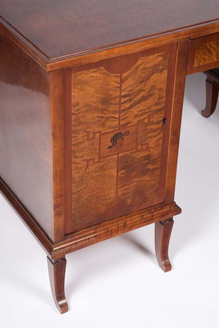 Art Deco Exotic Wood Inlay Desk by Andrew Szoeke For Sale 2