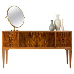 Swedish Grace Mahogany Inlaid Sideboard/Credenza by Mobilia, Sweden, 1940s