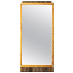 Swedish Grace Mirror in Birch and Brass, 1920-1930s