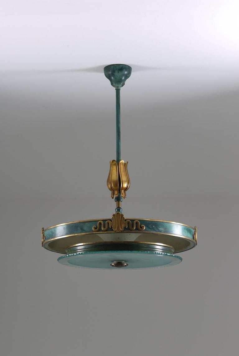 Pendant in frosted glass and patinated brass, possibly made by Böhlmarks, Sweden, 1930s.