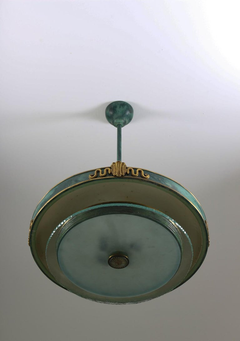 20th Century Swedish Grace Pendant in Glass and Patinated Brass For Sale