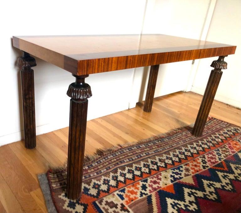 Birdseye Maple Swedish Grace Period Console or Sofa Table by Reiners Möbelfabrik For Sale