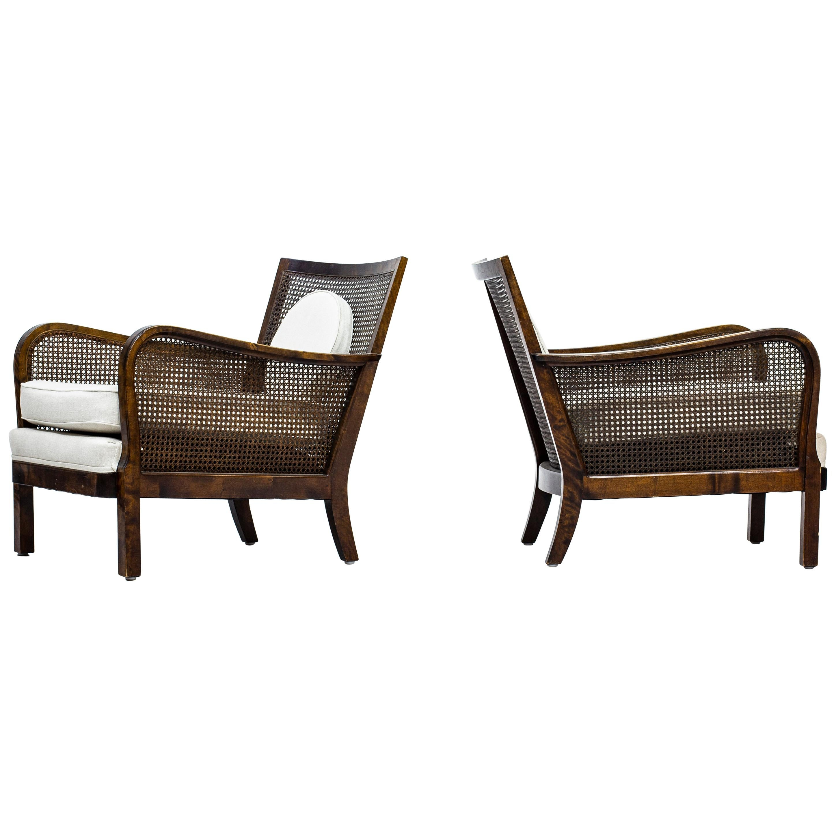 Swedish Grace Style Lounge Chairs Attributed to Otto Schulz and Boet