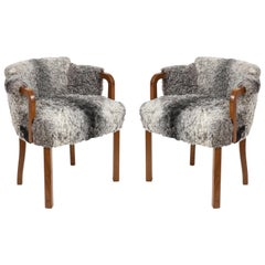 Swedish Grace Walnut, Sheepskin Club Chairs