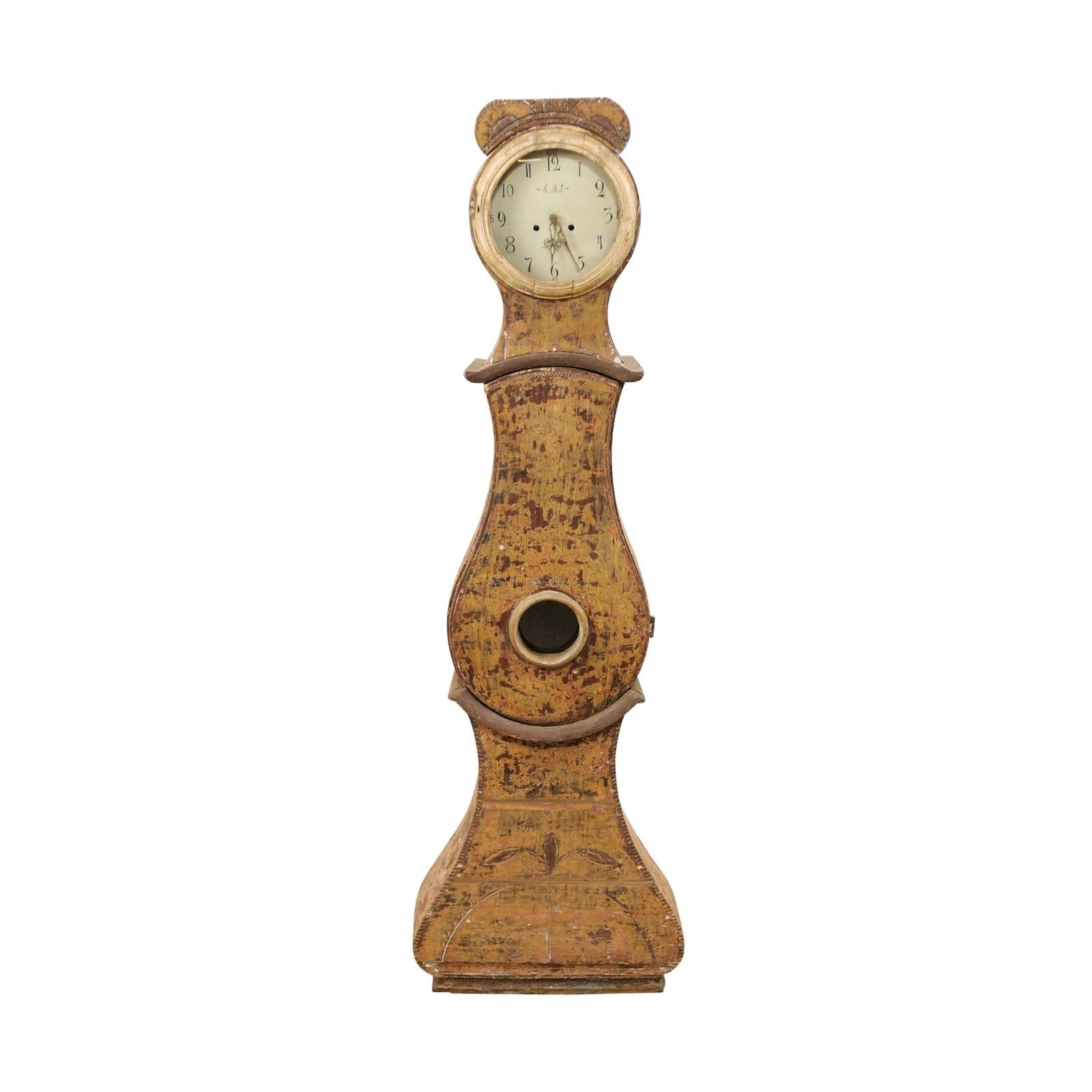 19th C. Swedish Grandfather Clock with it's Original Face & Warm Color Palette