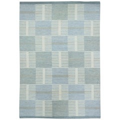 Swedish Gray, Blue and Cream Flat-Weave Wool Rug by Carl Malmsten