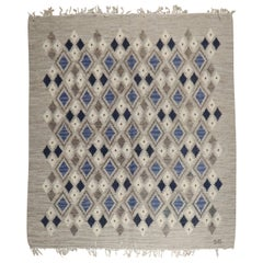 Swedish Gray Blue Ivory Flat Weave Rug Designed & Signed by Sigvard Bernadotte