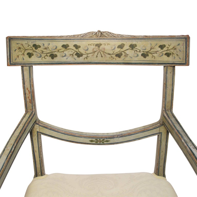 Hand-Painted Swedish Green Painted Armchair with Vintage Fortuny Upholstery, 19th Century For Sale