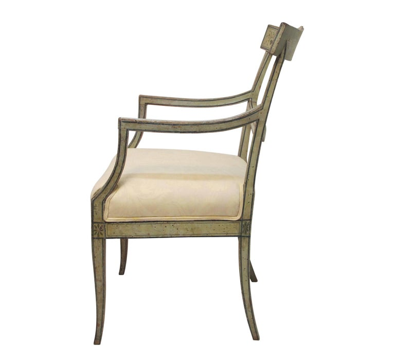 Swedish Green Painted Armchair with Vintage Fortuny Upholstery, 19th Century In Excellent Condition For Sale In San Francisco, CA