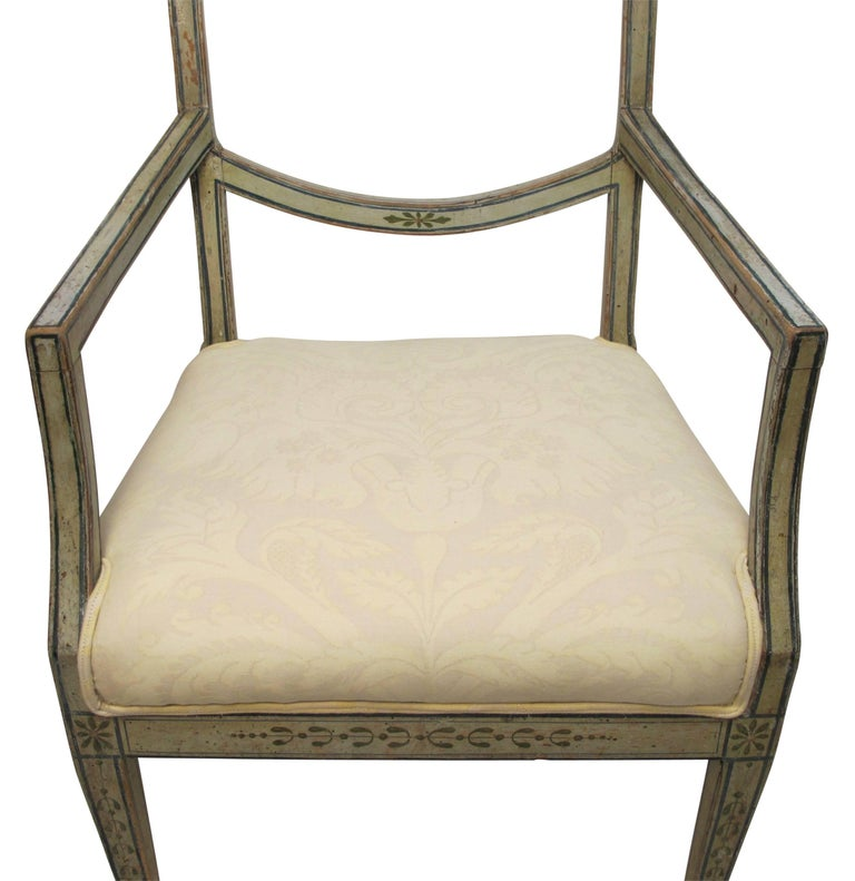 Wood Swedish Green Painted Armchair with Vintage Fortuny Upholstery, 19th Century For Sale