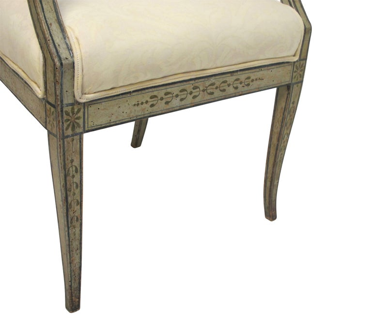 Swedish Green Painted Armchair with Vintage Fortuny Upholstery, 19th Century For Sale 1