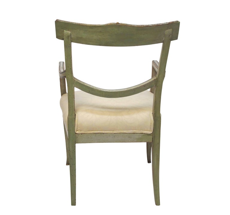 Swedish Green Painted Armchair with Vintage Fortuny Upholstery, 19th Century For Sale 2