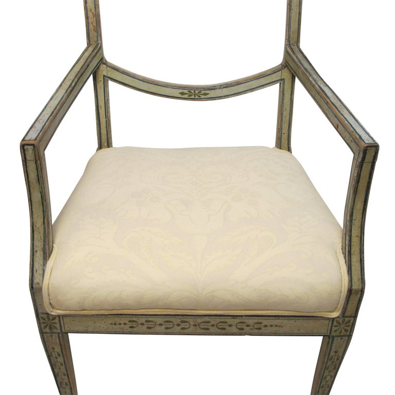 Swedish Green Painted Armchair with Vintage Fortuny Upholstery, 19th Century For Sale 3