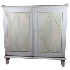 Swedish Grey Painted Wood Server with Original Key