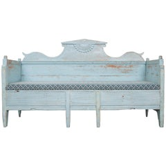 Swedish Gustavian 19th Century Blue Painted Sofa