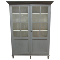 Swedish Gustavian 2-Door Glass Cabinet