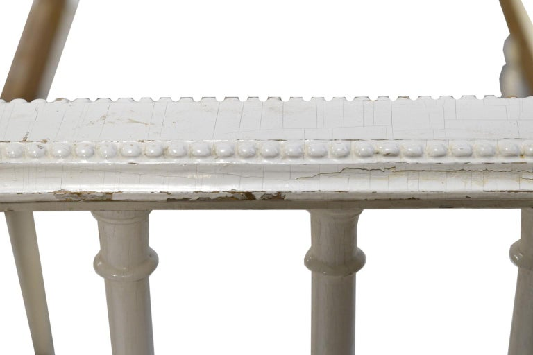 Swedish Gustavian Banquette/Daybed w/ White-Grey Paint & New Upholstery, c 1800  For Sale 5