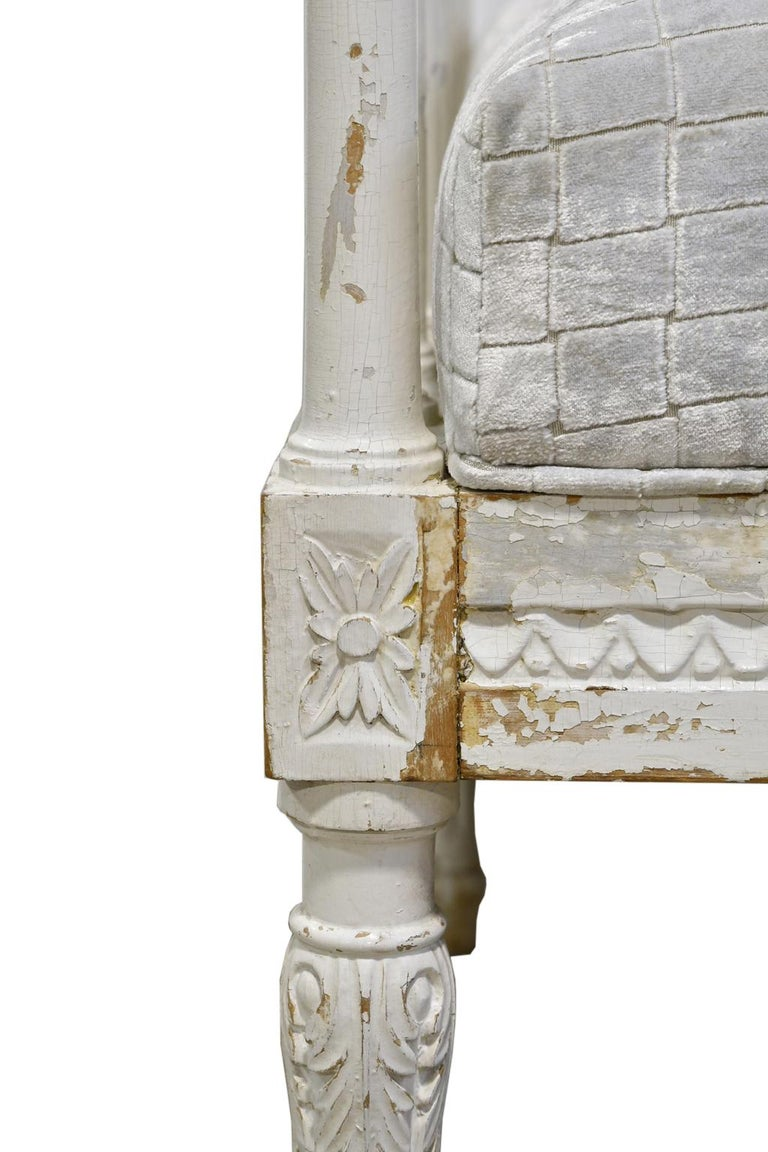 Fabric Swedish Gustavian Banquette/Daybed w/ White-Grey Paint & New Upholstery, c 1800  For Sale