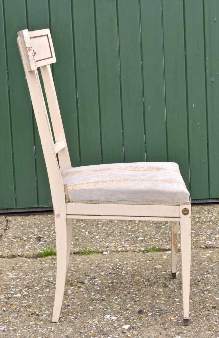 Swedish Gustavian Bellman White Dining Chairs, Set of Six, Late 19th Century In Good Condition For Sale In LONDON, GB