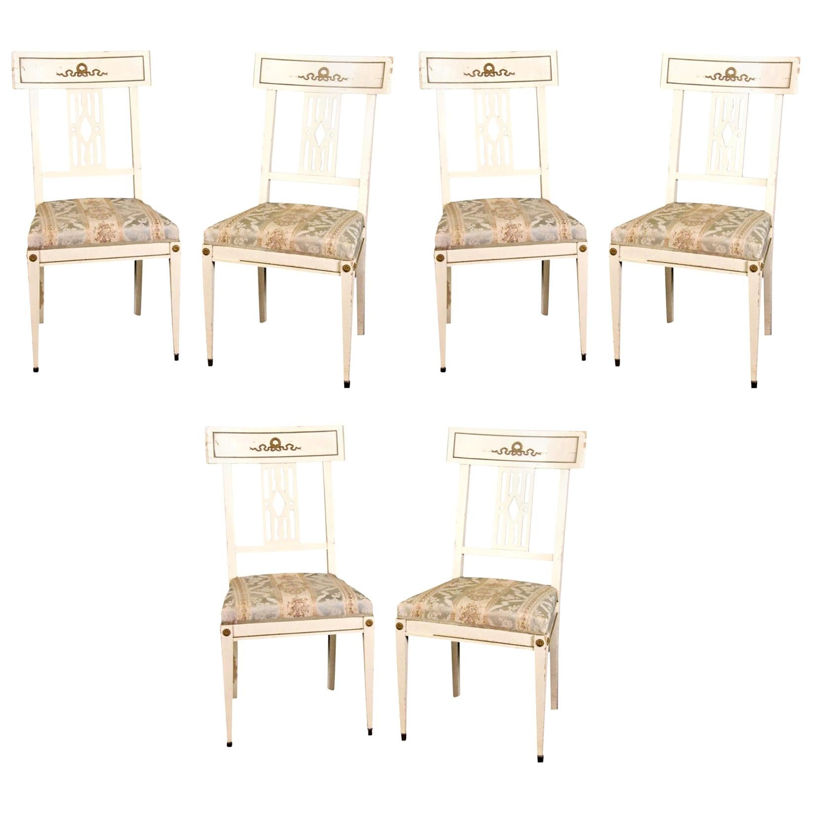 Swedish Gustavian Bellman White Dining Chairs, Set of Six, Late 19th Century