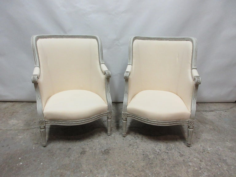 This is a set of 2 Swedish Gustavian Berger chairs. They have been restored and repainted with milk paints