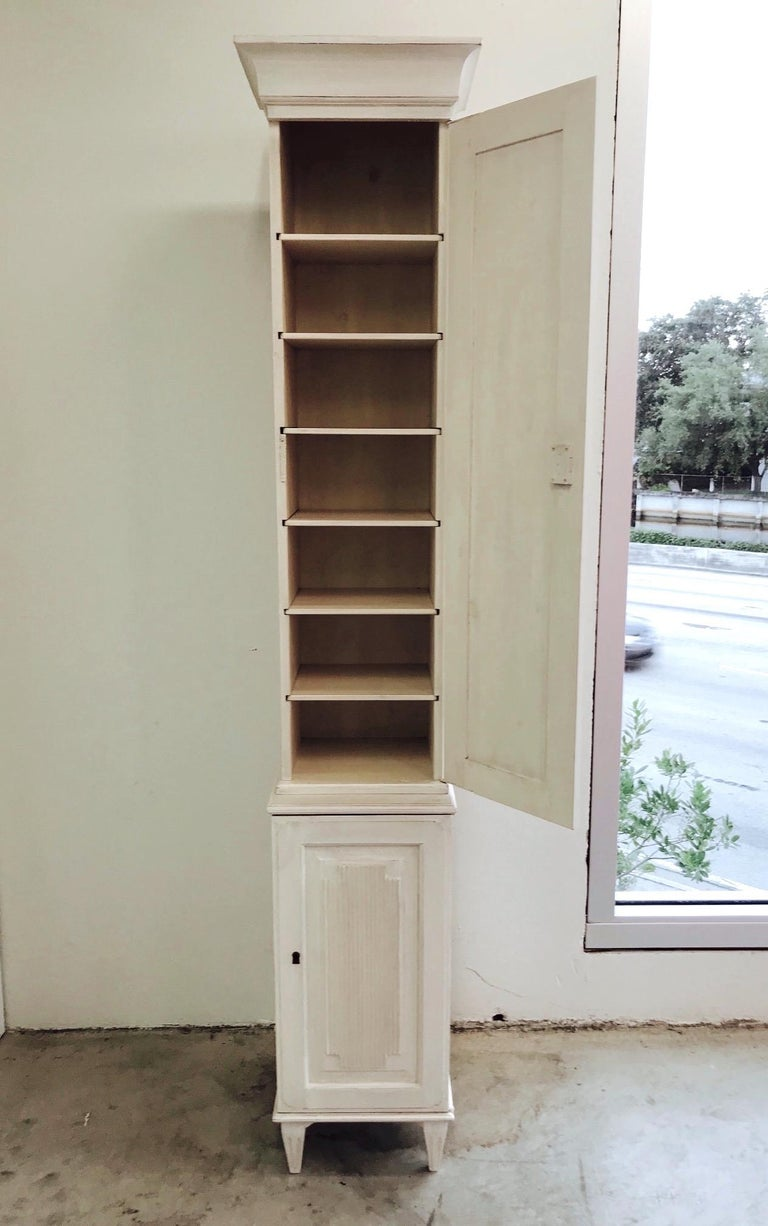 Swedish Gustavian Carved and Painted Narrow Cabinet For Sale 4