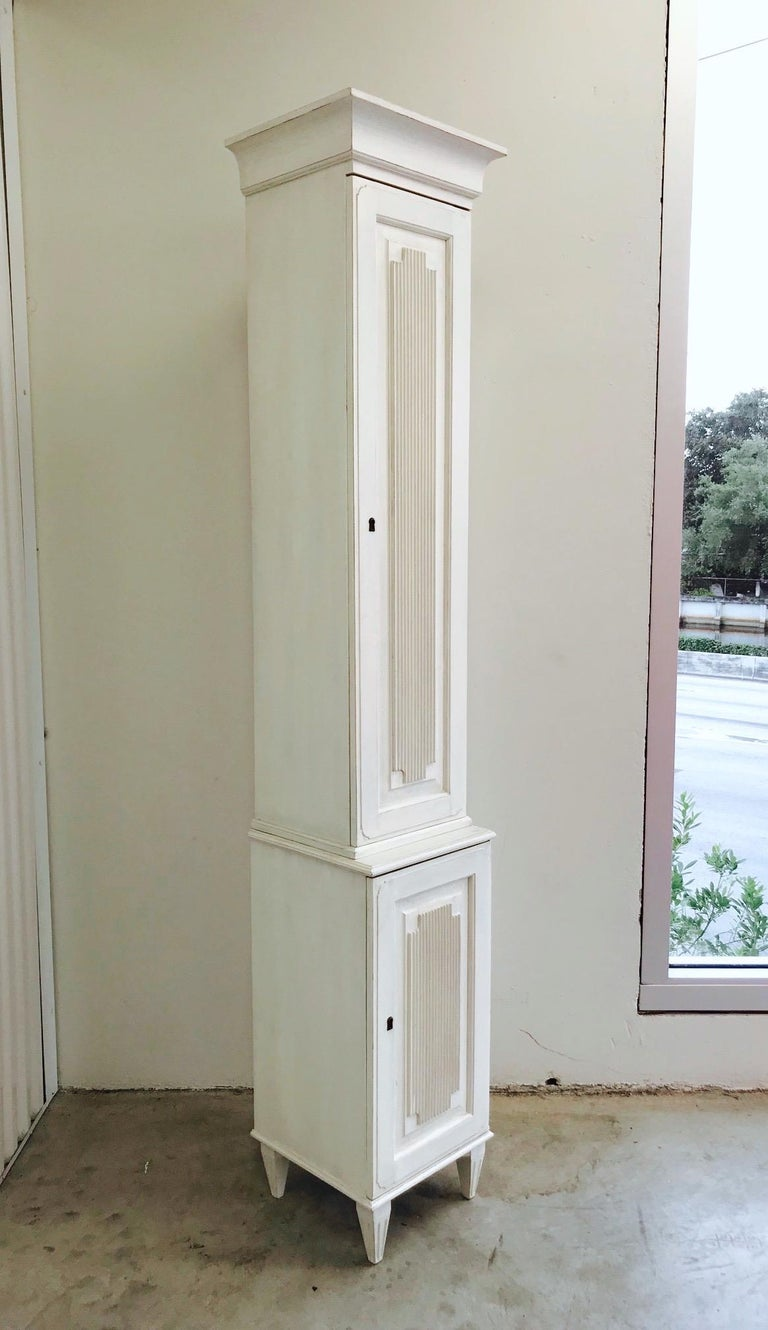 Hand-Carved Swedish Gustavian Carved and Painted Narrow Cabinet For Sale