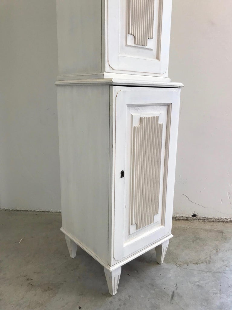 Reclaimed Wood Swedish Gustavian Carved and Painted Narrow Cabinet For Sale