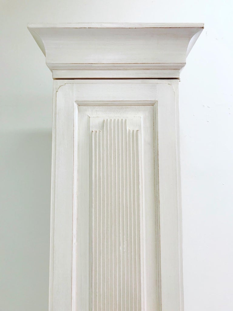 Swedish Gustavian Carved and Painted Narrow Cabinet For Sale 2