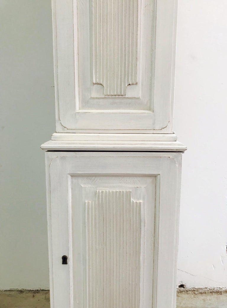 Swedish Gustavian Carved and Painted Narrow Cabinet For Sale 3