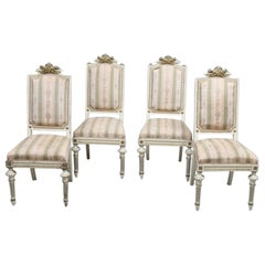 Swedish Gustavian Carved White Dining Chairs, Set of 4, Early 1900s