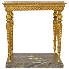 Swedish Gustavian Console in Giltwood with Carrara Marble, circa 1780