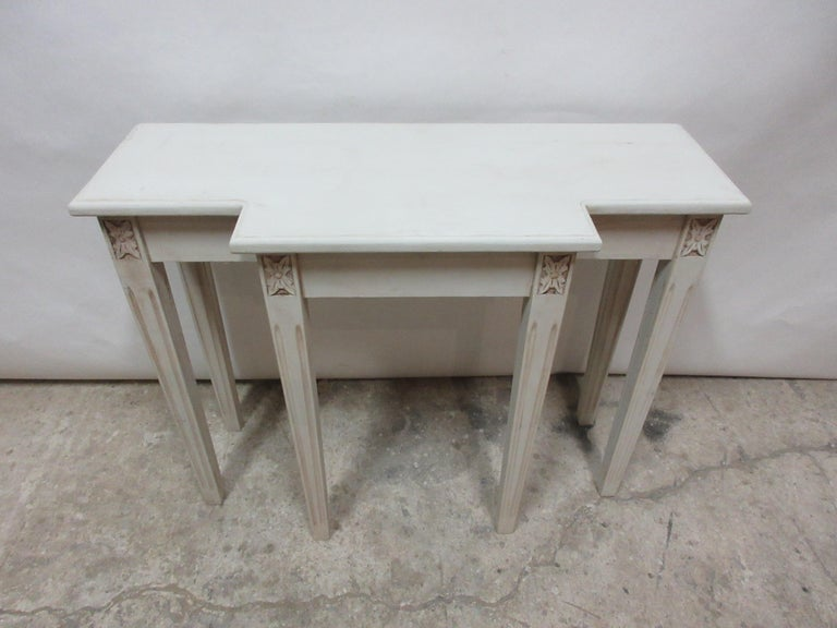 This is a Swedish Gustavian Console Table, its been restored and repainted with Milk paints