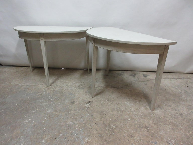 European Swedish Gustavian Demilune Tables  For Sale