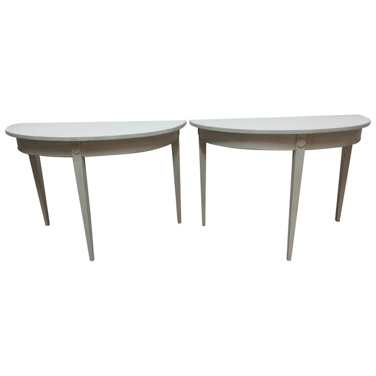 Swedish Gustavian Demilune Tables  For Sale