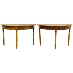 Swedish Gustavian Demilune Tables 1800s Faux Wood Grain Folk Art Gustavian