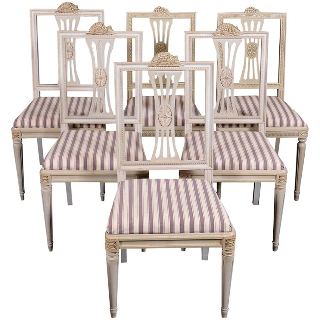 Swedish Gustavian Dining Chairs Grey Lindome Style Set of 6, Mid-20th Century