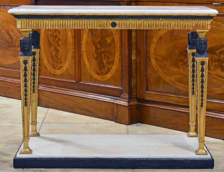 Painted Swedish Gustavian Egyptian Themed Giltwood and Ebonized Marble Top Console Table