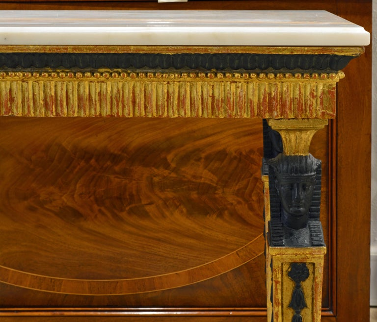 18th Century Swedish Gustavian Egyptian Themed Giltwood and Ebonized Marble Top Console Table For Sale