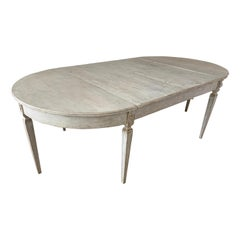 Swedish Gustavian Extension Table Painted Gray with Demilune Ends