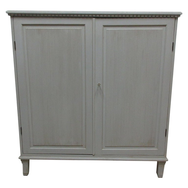 Swedish Gustavian Fluted Door Sideboard For Sale