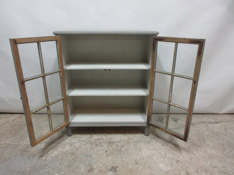 Swedish Gustavian Glass Door Sideboard In Distressed Condition For Sale In Hollywood, FL