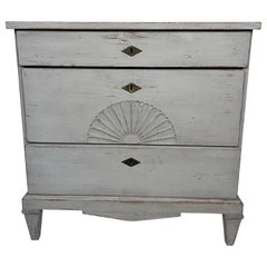 Swedish Gustavian Grey Painted Chest of Drawers with Carved Shell Design