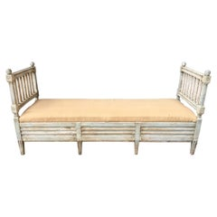 Swedish Gustavian Gray Painted Sofa Bench, Circa 1800